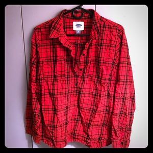 Old Navy red and black plaid top